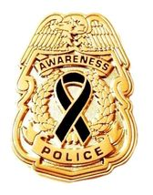 Black Awareness Ribbon Pin Police Badge Officer Sheriff Cop Cancer Causes New G image 2