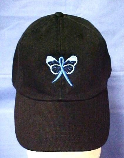 Primary image for Blue Awareness Ribbon Butterfly Black Baseball Cap Colon Cancer Child Abuse New