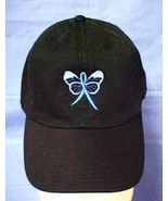 Blue Awareness Ribbon Butterfly Black Baseball Cap Colon Cancer Child Ab... - $17.97