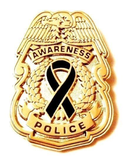 Black Awareness Ribbon Pin Police Badge Officer Sheriff Cop Cancer Causes New G image 3