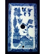 Blue Willow China Cable Switch Cover Pattern Porcelain Oriental TV Wire New - $15.65