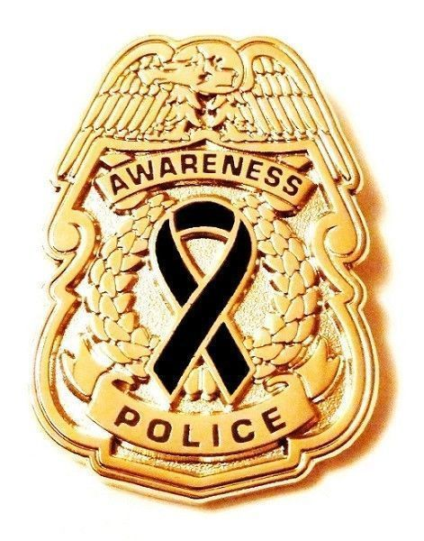Black Awareness Ribbon Pin Police Badge Officer Sheriff Cop Cancer Causes New G image 4