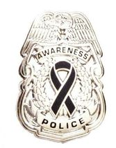 Black Awareness Ribbon Pin Police Badge Officer Sheriff Cop Cancer Causes New N image 3