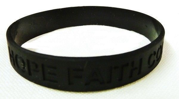 Black Awareness Bracelets 12 Piece Lot Hope Faith Courage Many Cancer Cause New