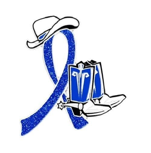 Blue Awareness Cowboy Boot Hat Western Pin Colon Cancer Child Abuse Crohn's New