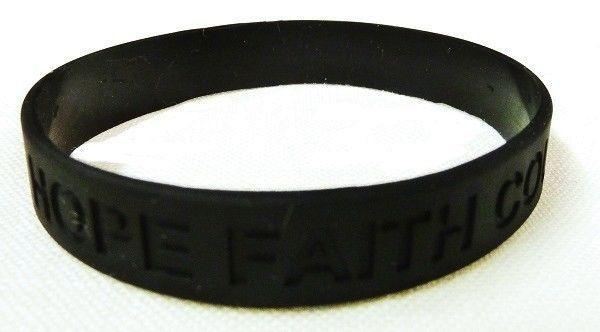Black Awareness Bracelets 6 Piece Lot Hope Faith Courage Many Cancer Cause New