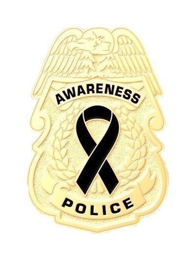 Black Awareness Ribbon Pin Police Badge Officer Sheriff Cop Cancer Causes New G image 5