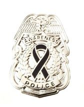 Black Awareness Ribbon Pin Police Badge Officer Sheriff Cop Cancer Causes New N image 4
