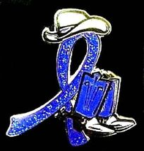 Blue Awareness Cowboy Boot Hat Western Pin Colon Cancer Child Abuse Crohn's New image 2