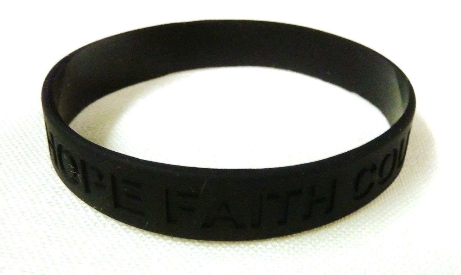 Black Awareness Bracelets 100 Piece Lot Hope Faith Courage Many Cancer Cause New