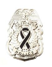 Black Awareness Ribbon Pin Police Badge Officer Sheriff Cop Cancer Causes New N image 5