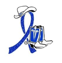 Blue Awareness Cowboy Boot Hat Western Pin Colon Cancer Child Abuse Crohn's New image 3