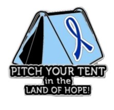 Blue Ribbon Lapel Pin Cancer Awareness Pitch Your Tent in the Land of Ho... - $13.97