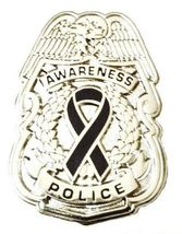 Black Awareness Ribbon Pin Police Badge Officer Sheriff Cop Cancer Causes New N image 6