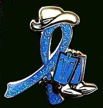 Blue Awareness Cowboy Boot Hat Western Pin Colon Cancer Child Abuse Crohn's New image 5