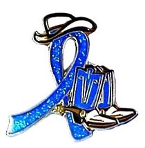 Blue Awareness Cowboy Boot Hat Western Pin Colon Cancer Child Abuse Crohn's New image 6
