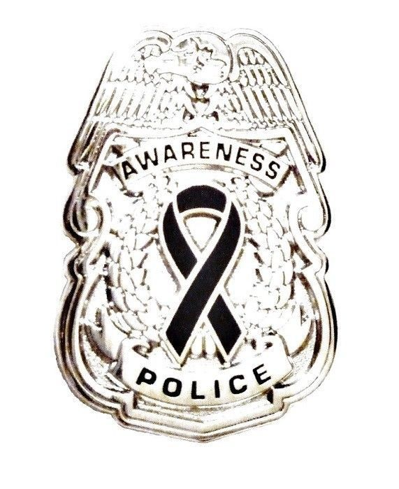 Black Awareness Ribbon Pin Police Badge Officer Sheriff Cop Cancer Causes New N image 8