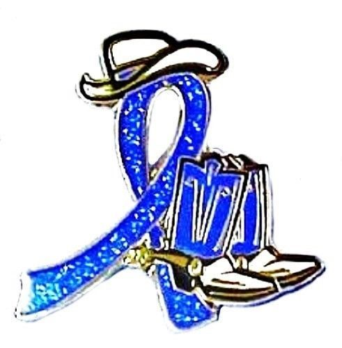 Blue Awareness Cowboy Boot Hat Western Pin Colon Cancer Child Abuse Crohn's New image 7