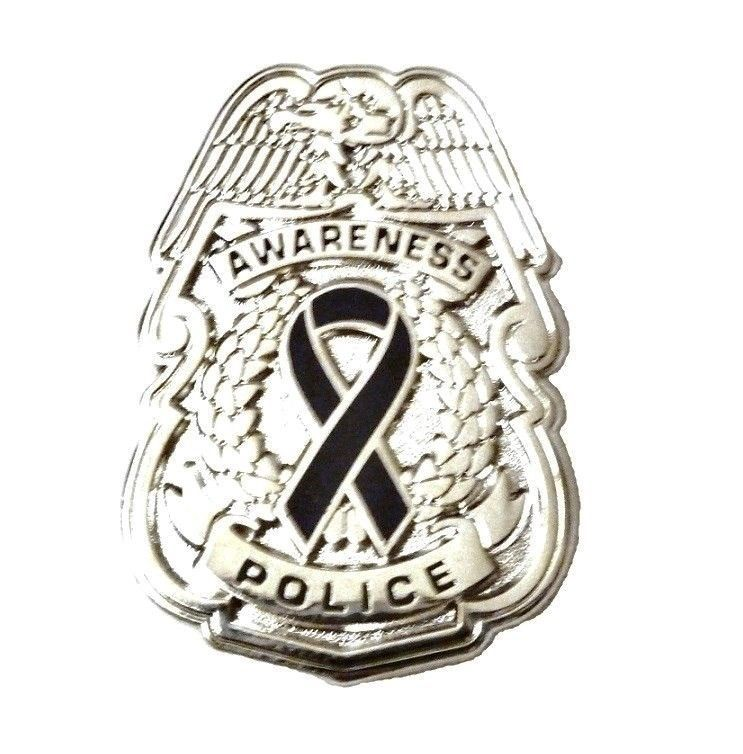 Black Awareness Ribbon Pin Police Badge Officer Sheriff Cop Cancer Causes New N image 9