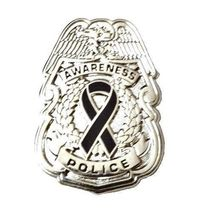 Black Awareness Ribbon Pin Police Badge Officer Sheriff Cop Cancer Causes New N image 11