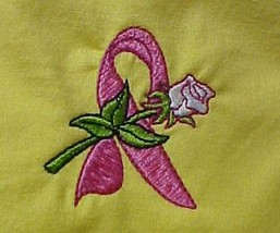 Breast Cancer Awareness Pink Ribbon White Rose Yellow S/S T-Shirt XL Uni... - $21.31