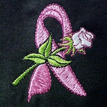 Breast Cancer Awareness Pink Ribbon White Rose Black S/S T-Shirt S Unise... - $21.31