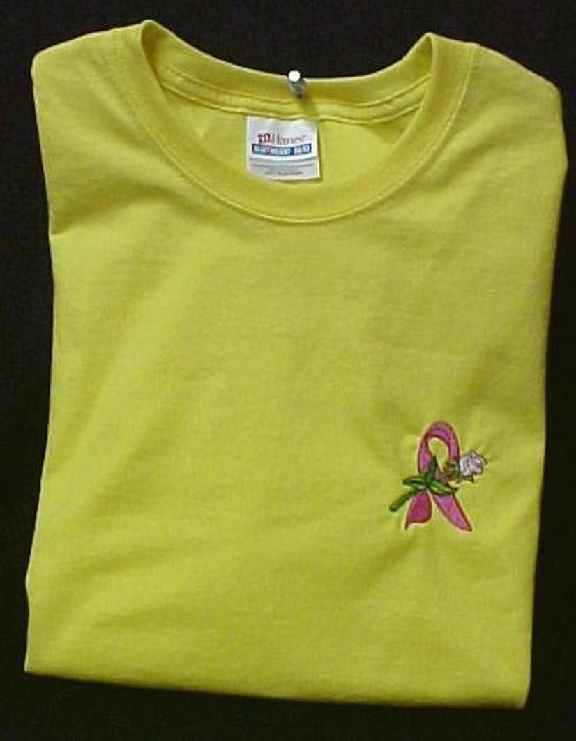 Breast Cancer Awareness Pink Ribbon White Rose Yellow S/S T-Shirt M Unisex New