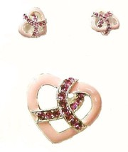 Breast Cancer Pin Slide Earring Set Pink Crystals Heart Pierced Awarenes... - $14.52