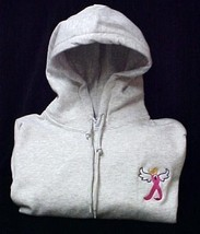 Breast Cancer Hoodie Sweatshirt Awareness Ribbon Angel Gray Large Hoodie... - $30.04