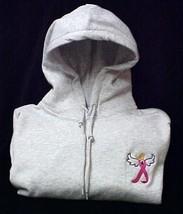 Breast Cancer Hoodie Sweatshirt Awareness Ribbon Angel Gray Large Hoodie New - $30.04