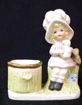 C Jasco Porcelain China Bonnet Girl Figurine Votive Candle Holder Vintage - $19.37