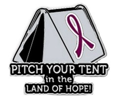 Burgundy Cancer Awareness Ribbon Pin Pitch Your Tent in the Land Hope Ca... - $13.97
