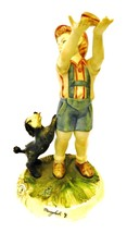 Capodimonte Meneghetti Figurine Porcelain Boy Dog Puppy Sandwich Italy Vintage - $244.95