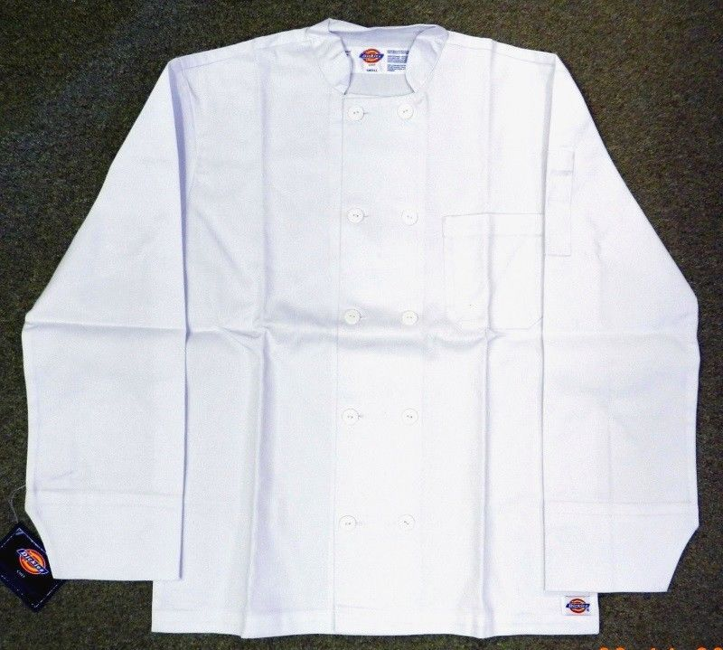 Chef Jacket Dickies CW070305 Restaurant Button Front White Uniform Coat L New