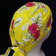Chemo Cancer Head Cover Hat Cap Durag Yellow Print One Size Fits Most New - $9.57