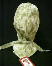 Chemo Head Cover Hat Olive Green Sponge Print Durag Cap 100% Cotton One Size New - $9.67