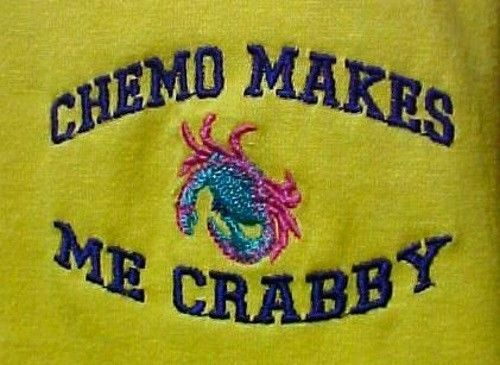 Chemo Makes Me Crabby Yellow Embroidery Crab Cancer Awareness S/S T Shirt XL New