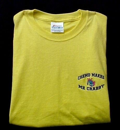 Chemo Makes Me Crabby Yellow Embroidery Crab Cancer Awareness S/S T Shirt S New