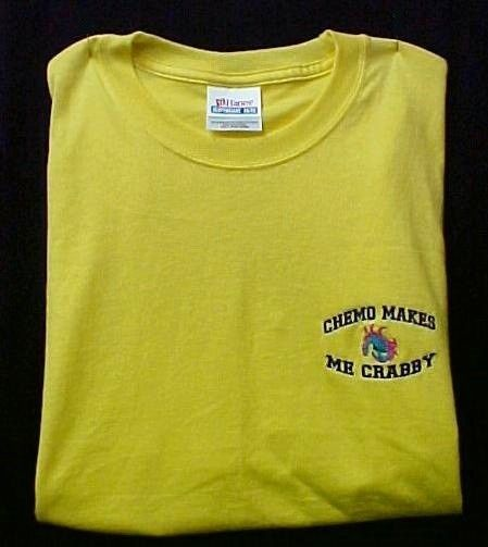 Chemo Makes Me Crabby Yellow Embroidery Crab Cancer Awareness S/S T Shirt 3X New