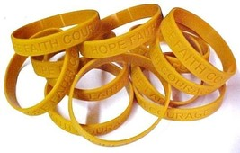 Childhood Cancer Awareness Gold Silicone Jelly Bracelet 100 piece Lot Latex Free - $67.17