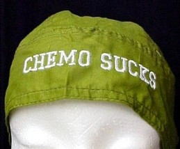 Chemo Sucks Chemo Head Cover Olive Green Hat Durag 100% Cotton Light Weight New - $15.49
