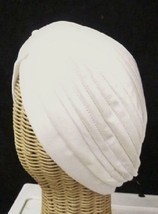 Chemo Turban White Polyester Knit Gathered Knotted Style Head Cover Hat New - $12.58
