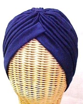 Chemo Turban Navy Blue Polyester Knit Gathered Knotted Style Head Cover Hat New - $12.71