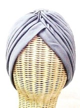 Chemo Turban Gray Polyester Knit Gathered Knotted Style Head Cover Cap Hat New - $12.71