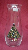 Christmas Holiday Tree Clear Glass Flower Vase Pasabahce Turkey Vintage - $15.49