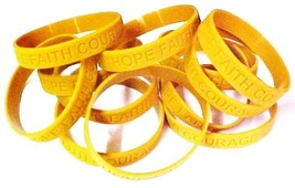 Childhood Cancer Awareness Gold Silicone Jelly Bracelet 12 piece Lot Lat... - $12.45