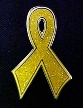 Childhood Cancer Pin Gold Bling Awareness Ribbon Sparkles Lapel Pins New - $13.55