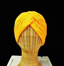 Chemo Turban Orange Polyester Knit Gathered Knotted Style Head Cover Cap Hat New - $12.58