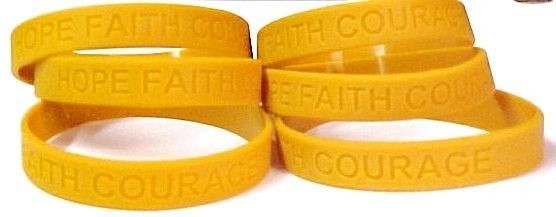 Childhood Cancer Awareness Bracelet 6 piece Lot Gold Silicone Jelly Latex Free