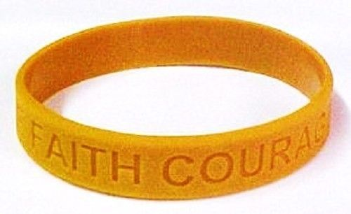 Childhood Cancer Awareness Gold Silicone Jelly Bracelet 100 piece Lot Latex Free